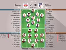 Escalações de Salzburg e Atlético de Madrid. BeSoccer