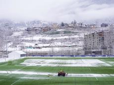 The spectacular image that the snow left in the Andorra v Lleida Esportiu match. FCAndorra