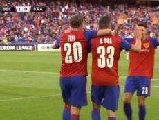 Diez minutos tardó Bua en marcar el primer gol de la Europa League 2019-20. Captura/Movistar