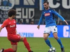 El City espió a Fabián en el partido ante el Salzburgo. Twitter/SSCNapoli