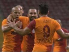 Falcao e sua bela estreia no campeonato turco. Captura/BeINSports