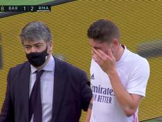 Valverde se marchó por cansancio. Captura/MovistarLaLiga