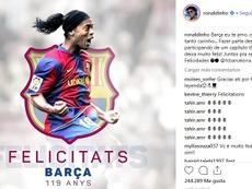 Ronaldinho deixou uma mensagem para o Barça. Instagram/Ronaldinho