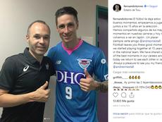 Torres e Iniesta se vieron las caras por primera vez en Japón. Instagram/FernandoTorres