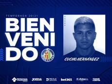 Cucho Hernández es nuevo jugador del Getafe. Twitter/GetafeCF