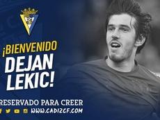 Lekic llegó al Cádiz tras rescindir con el Reus. Twitter/Cadiz_CF