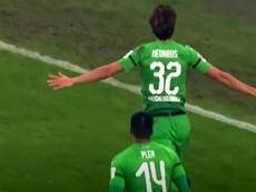 Florian Neuhaus celebrates a goal. Screenshot/MovistarLigadeCampeones