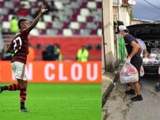 Bruno Henrique ayuda a sus vecinos. AFP/Twitter/Brunohenrique