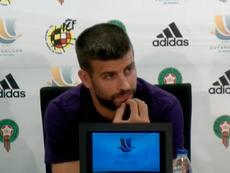 Gerard Piqué, na roda de imprensa previa a Supercopa da España 2018. Captura