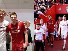 Gerrard y Paolo Maldini posaron juntos en la previa del Liverpool-Milan. Instagram/PaoloMaldini