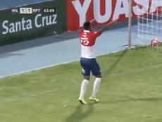 Gilbert Álvarez anotó un doblete ante Real Potosí clave en los tres puntos. Captura/TIGOSports