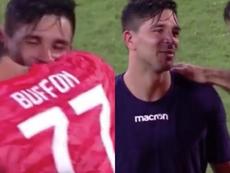 Gio Simeone habló con Buffon. Capturas/MovistarLigadeCampeones