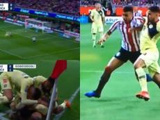 Gol, expulsión y polémica en la primera mitad del Chivas-América. Captura/ChivasTV