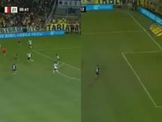 Gol de Allione frente a RIver Plate. Captura/TNT