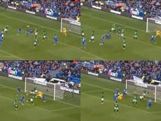 Bamba marcó el 2-1 en el minuto 90 de partido. Captura/Multifutbol
