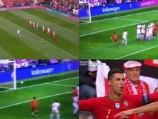 Cristiano Ronaldo abriu o marcador no duelo de Portugal frente à Suíça. Captura/optusSport