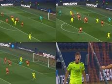 Dani Olmo anotó el 1-1. Montaje/MovistarLigadeCampeones