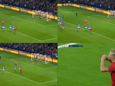 Haland drew Salzburg level against Napoli from the spot. Montaje/Capturas/MovistarLigadeCampeones