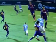 Javi Perez gave Ibiza a shock lead versus Barca. Capturas/DAZN