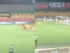 Jhon Pérez adelantó a Atlético Bucaramanga. Twitter/ElHectorHH