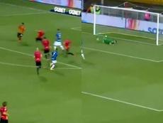 Lautaro marcó el quinto. Capturas/MovistarLigadeCampeones