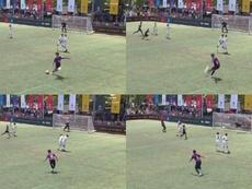 El gol de falta fue el tercero de los 'culés'. Montaje/LaLiga