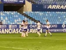 El Zaragoza superó por la mínima al Girona. Captura/RealZaragoza