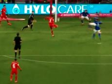 Así fue el primer gol de Lewandowski. Captura/Movistar