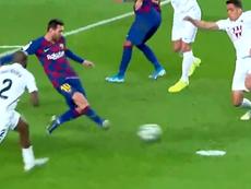 Et le premier but de l'ère Setién est signé... Leo Messi. Capture/Movistar