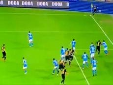 Le but sur corner direct d'Eriksen contre Naples. Capture/DAZN