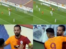 Arda Turan marcó y abrazó a Falcao. Capturas/sporsmarthd