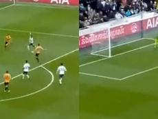 Le sublime but de Serge Aurier avec Tottenham. Captures/DAZN