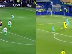 Griezmann's goal (R) was very similar to Messi's (L) at Betis.  Capturas/Movistar