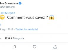 Griezmann reflejó cierta 'inquietud' ante la posible llegada de Neymar. Twitter/AntoGriezmann