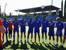 La selección de Guinea Ecuatorial durante un entrenamiento. FEGUIFUT