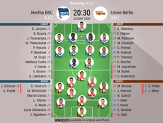 Hertha BSC v Union Berlin. Bundesliga 2019/20. Matchday 27, 22/05/2020-official line.ups. BESOCCER