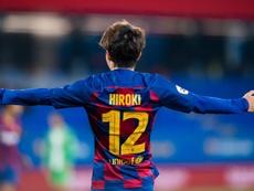 Monchu salva un punto en el debut goleador de Hiroki Abe. Twitter/FCBarcelonaB
