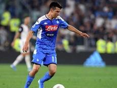 Hirving Lozano es duda de cara al próximo compromiso liguero del Nápoles. Twitter/sscnapoliES