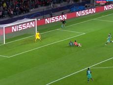 Hirving Lozano scored for PSV against Tottenham Hotspur. Captura/Movistar
