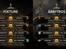 La Fase 3 ya conoce horarios y árbitros. Twitter/Libertadores