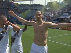 Ibrahimovic marcou o 3-3 para os LA Galaxy. Captura/MLS