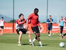 Ignasi Miquel volvió a trabajar con el Girona. Twitter/GironaFC