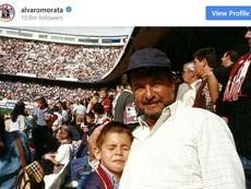 Morata felicitó a su padre en el día señalado y remarcó su corazón atlético. Instagram/alvaromorata