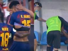 Ronald Araujo se blesse avec le Barça B. Capture/BarçaTV