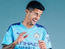 Imagen de Cancelo durante su presentación como nuevo jugador del Manchester City. Twitter/ManCityES