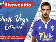 Dani Vega, nuevo jugador del Extremadura. Twitter/EXT_UD