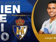 Juergen Elitim, nuevo jugador de la Ponferradina. Twitter/SDP_1922