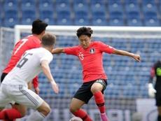 Kang-In Lee disputó sus primeros minutos con la Absoluta de Corea del Sur. Twitter/theKFA
