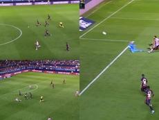 La contra de Osasuna y el seis vs. dos que milagrosamente no acabó en gol. Captura/LaLiga