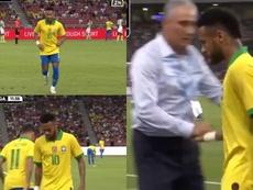 Neymar se lesionó ante Nigeria y fue sustituido por Coutinho. Captura/DAZN